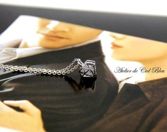 Tiny Cubic Zirconia Necklace -Tiny Diamond Charm Necklace - Tiny Silver Diamond Charm Necklace - Diamond Shape Pendan