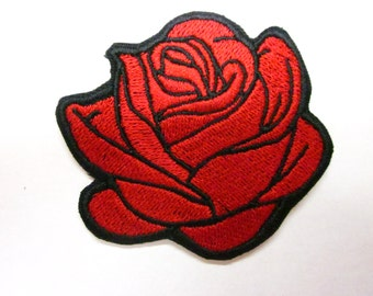 Red Rose Iron Or Sew on Patch