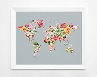 Floral World Map Poster Art Print, Instant Download,  Printable Decor, Digital Art Print, 8x10 16x20 11x14 World Map, Floral Wall Decor