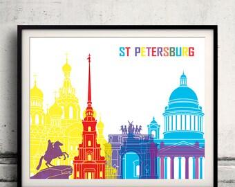 St Petersburg pop art skyline 8x10 in. to 12x16 in. Fine Art Print Glicee Poster Gift Illustration Pop Art Colorful Landmarks - SKU 1158