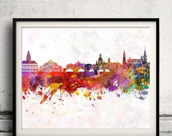 Dresden skyline in watercolor background 8x10 in. to 12x16 in. Poster Digital Wall art Illustration Print Art Decorative - SKU 1316