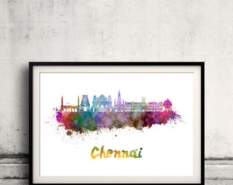 Chennai skyline in watercolor over white background with name of city - Poster Wall art Illustration Print - SKU 1652
