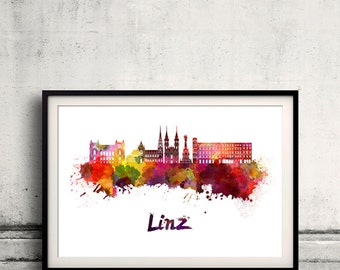 Linz skyline in watercolor over white background with name of city - Poster Wall art Illustration Print - SKU 1882