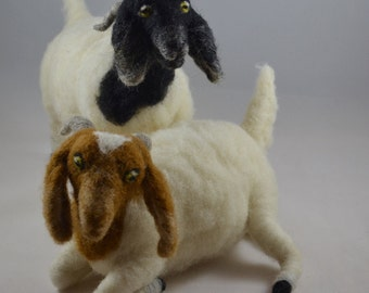 Boer Goats, Wool, Needle-felted, Handmade, Made to Order