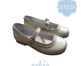 LETICIA Cream Mary Jane with gold details