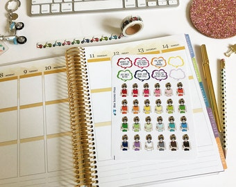 Iconic Vogue Editor Anna Wintour Hand-drawn Stickers! 32 MATTE Planner Stickers.