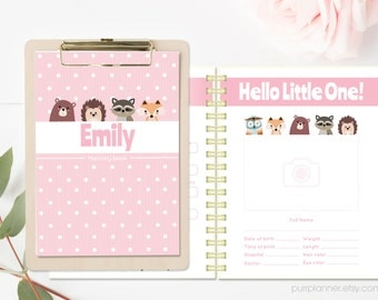 Cute pink printable baby girl photo album, baby's first year book, memory diary, milestone book, baby shower gift. Letter size