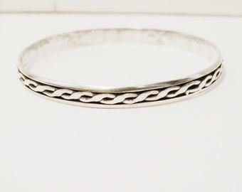 Solid Sterling 925 Stamped Bangle Bracelet.