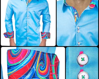 Blue with Multi-Colored Swirls Men's Designer Dress Shirt - Made To Order in USA