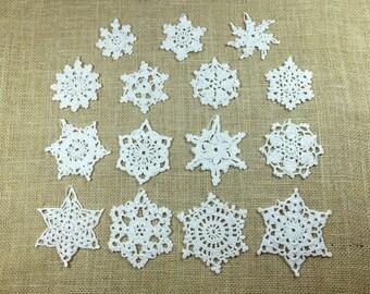 Crochet Snowflakes, set of 15, each unique shape, White