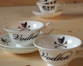 Gin and Vodka Cup and Saucer