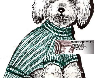 Knit Dog Striped Turtleneck Puppy Sweater Coat Blanket Knitting Pattern Sizes 8 to 20 Instant Download
