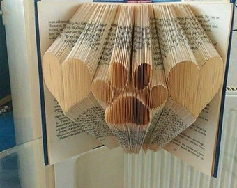 heart paw heart bookfold pattern, pets, cats, dogs, animals, paw, animal lover, best friend, mmf