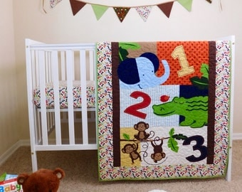 Jungle animals Baby quilt, Jungle animals crib bedding, jungle nursery, Safari crib bedding, animals in baby quilts, safari nursery bedding.