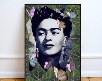 "Frida Kahlo art, Frida kahlo poster, surreal wall art print, Frida Kahlo portrait, home decor wall art, Frida Kahlo poster - ""The one""."