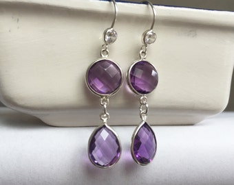 Purple amethyst earrings. 925 sterling silver earrings with purple amethyst gemstones in bezel. Amethyst earrings, purple earrings