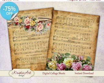 75% OFF SALE Music flowers cards Printable download digital collage sheets, Large digital image, Transfer Images for bags books fabrics