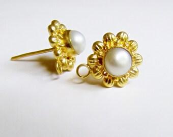 Boucle d'oreille perle boucles d'oreilles avec poussoirs, conclusions de luxe or vermeil Bali fleuri bricolage fournitures de poste