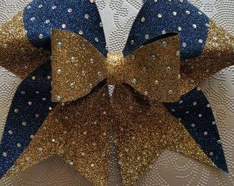 Gold/Navy Rhinestone Cheer Bow