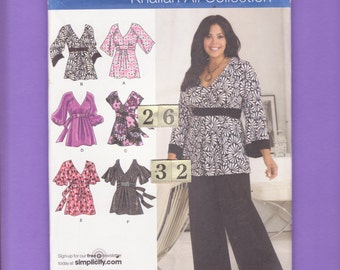 V Neck, Empire Waist, Flared Sleeve Top, Blouse, Tunic/ Simplicity 4277 Womens low cut, gathered top UnCut Sewing Pattern/ Size 26 28 30 32
