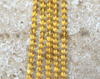 "Natural Citrine Beads - FULL 16"" strand of Teeny Tiny AAA 3mm Citrine Round Beads, (about 124 beads) - G963"
