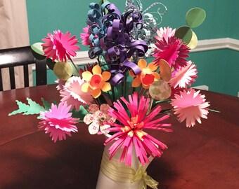Paper Bouquet Flower Arrangement Centerpiece | Paper Flowers with Stems