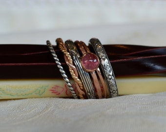 Pink Tourmaline Stacking Ring Set of Six in an Opulent Renaissance Style