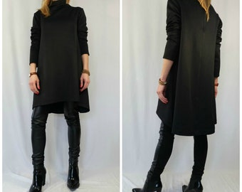 Black Loose Dress / Oversize Casual Dress / Knee Length Tunic Dress/ Long Sleeve Kaftan