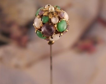 Antique Hatpin | Amethyst Jade Glass and Mother-of-Pearl Pin