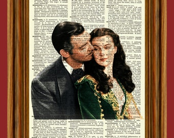 Gone With The Wind Upcycled Dictionary Art Print Poster Scarlett & Rhett
