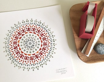 Red and grey watercolor mandala print