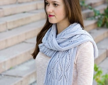 Knit Scarf Handmade - Womens Scarf - Lace Scarf for Women - Knitted Ladies Scarf - Wool Scarf - Angora Neck Scarf in Blue Grey
