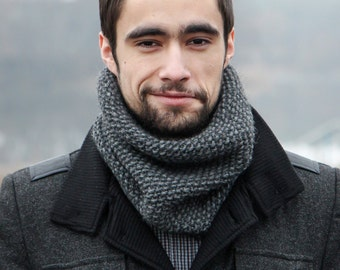 Mens Wool Scarf - Mens Scarf - Grey Scarf Knitted - Neck Scarf Men - Mens Tube Scarf - Cool Gifts For Him - Birthday Gift For Husband