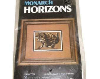 The Kitten Needle Point  Kit By Monach Horizons Vintage Kitten Needle Point Kit Cat Lovers  Needle Point Kit  1970s