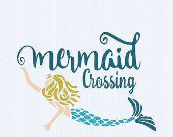 Mermaid  Crossing SVG Sea Crossing starfish crab Svg Dxf Eps, png Cricut Design Space, Silhouette, Digital Cut Files, Instant Download