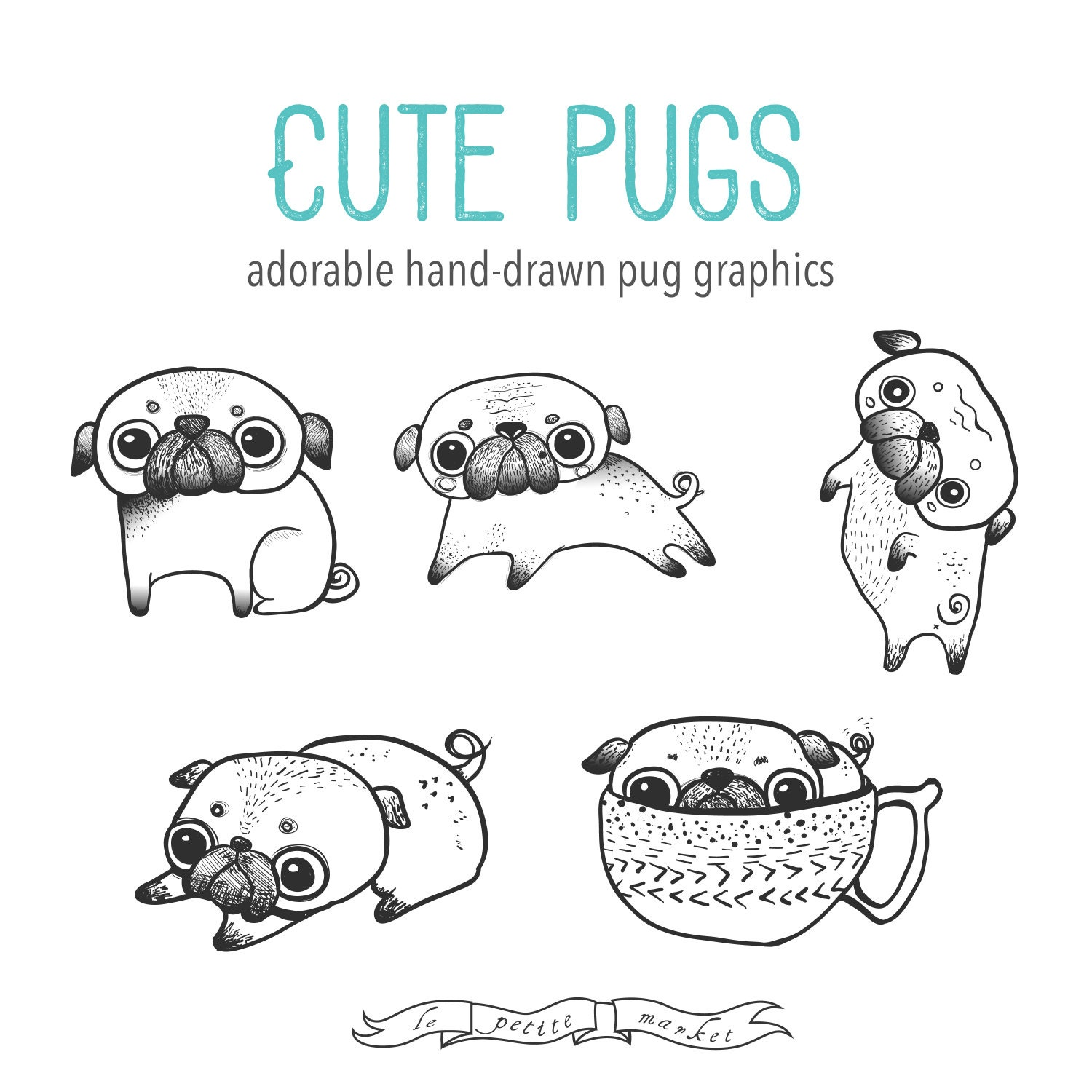 pugs coloring pages to print - photo#27