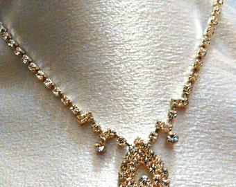 Vintage Rhinestone Silver Necklace