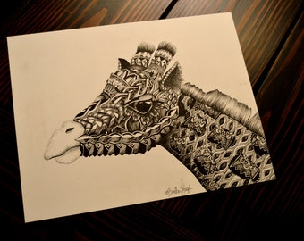 Zentangle Giraffe Print