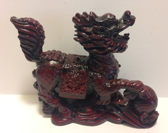 Dragon Red Resin Dragon Good Luck Figurine Statue