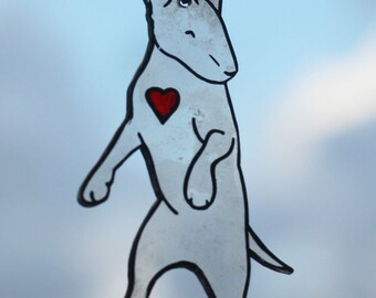 BULLTERRIER with red heart necklace