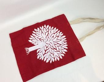 Jute Tote - Beach bag - Set of 2 - Red and Yellow earth Tree print. Eco Jute