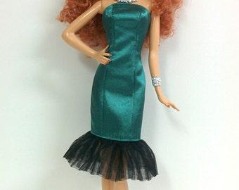 Green Satin Dress for Model Muse Barbie