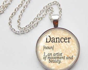 "Dictionary Definition ""Dancer"" - Literary pendant - silver necklace - word jewelry - stocking stuffer"