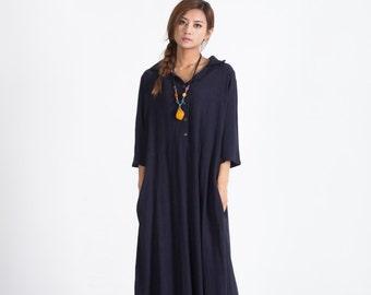 Women's Oversize maxi Dress Loose linen cotton dress cotton caftan linen kaftan plus size clothing large size dress Custom_made clothing A51