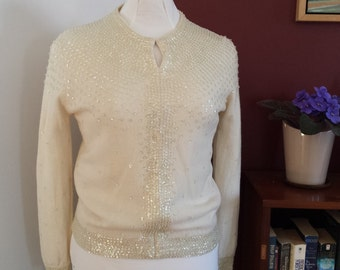 vintage sequin cardigan, sequin and silk cardi, vintage cardigan, ivory sequined cardigan,