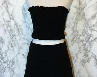 A Line Mini Skirt with Pockets & Belt Loops 90s Black