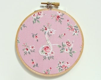 Embroidery Initial Hoop. Stitched Monogram Home Decor. Personalized Ornament. Embroidered Letter. Nursery Decor