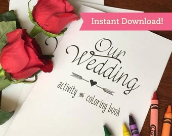 wedding coloring book printable download children kids activity book wedding coloring pages favors - Wedding Coloring Books For Children