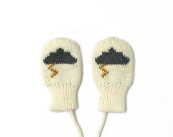 SALE! White and grey baby mittens with cloud and lightning bolt. Merino Wool | Sizes 0 - 3 Years