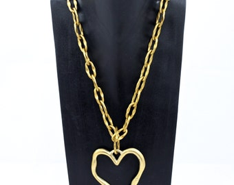 Gold Chain Long Heart Pendant Necklace